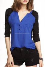 CHEFON Raglan long sleeve pocketed simple design lady blouses for women 2014