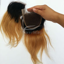 body wave 1B/27# light brown Ombre Top closure 100% brazilian Virgin Human Hair 4*4 Middle Part Lace Closure