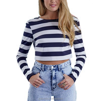 Womens Fashion Spring Autumn Women Cropped Sexy Blue and White Striped Slim Long Sleeve Backless Crop Top T-Shir