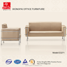 Hot white pu and chromed steel structure office sofas for sale