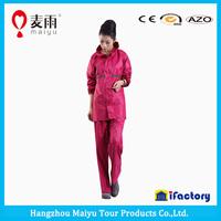 Maiyu waterproof red hooded adult plastic smock