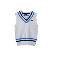 High Fashion Cheap White V-Neck Cable Knit Boys Sweater Vest