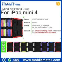 2 in 1 TPU PC Hybrid Kickstand Case for iPad Mini4, for iPad Mini 4 Shockproof Protective Case