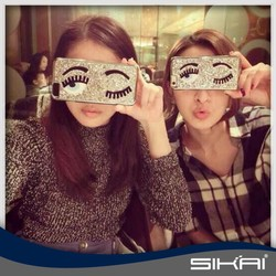 New Products Big Eyes Wink Long Eyelash Phone Case Fancy Bling Patch Phone Cover For iPhone 6 6 plus