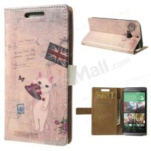 For HTC One M8 Cute Cat & Union Jack Carte Postal Wallet Leather Case w/ Stand