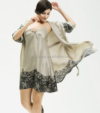 good quality fashion design silk sleepwear , 2 pcs set nightgown #OS113