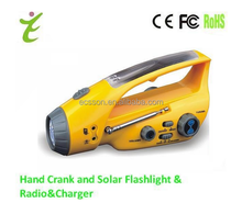 The cheapest solar power rechargeable led flashlight , hand crank for mobile phone charging , solar radio