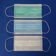 Disposable blue/green/pink printed surgical mask