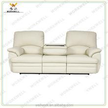 WorkWell modern style white genuine leather recliner sofa set Kw-Fu61