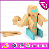 2015 hot sale Construction set small flexible magic wooden robot,Educational Toy wooden image Kit for kids W03B046