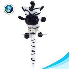 Cute plush zebra design soft cheap wholesale animal pen stuffed soft plush pen toy