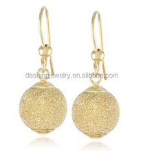 Fashion Yellow Gold Laser Finished Dangle 14k gold ball earrings