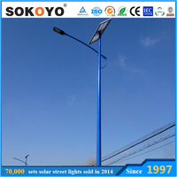 Energy saving IP65 solar street light,140lm/w pole mounted path lights for LED street lighting