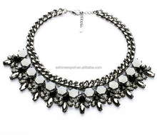 2015 Fashion Black Gun Plated Hexagonal Resin Beads Marquise Stone Jeweled Big Statement Necklace