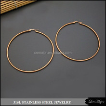 rose gold plated big circle stainless steel hoop earrings of fashion jewelry