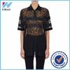 Yihao factory European style perspective blouse women fashion shirt model fancy lady blouse 2015