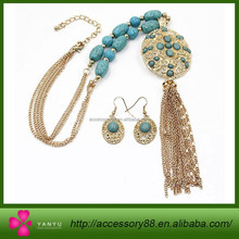 Double Chains Turquoise jewelry set,Gold Chain Tassel Pendant Necklace & Earring Set jewelry,african beads jewelry set