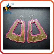Fashion Accessories Red Geometric Rectangle Drop Earrings Alloy For Night Club Party Queen