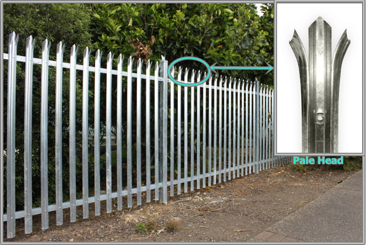 Triple pointed and splayed steel palisade fence and gate 1.png