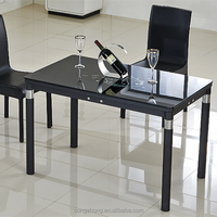 luxury glass top wood leg black tempered glass dining table