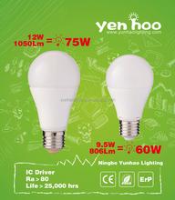 Factory Supply!!14W A60 led bulb RA80 IC Driver 9W 12W 14W 12v led bulb e27 with ERP CE certificate
