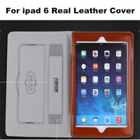 High Quality 9 Colors Fashion Luxury Real Cow Leather Case For Ipad 6 Book Stand Flip Leather Cover For Ipad Air 2