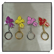 flower shape 3D souvenir metal keychains with custom logo