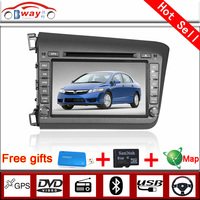 Bway 2 din car video player for CIVIC 2012 car dvd player 256 MB RAM with car Radio bluetooth,steering wheel