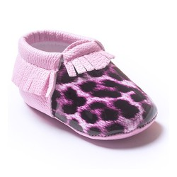 leopard baby first shoes walking with fashion fringe