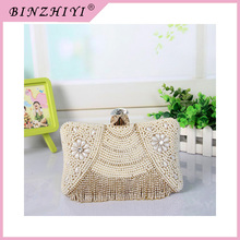 Hot Sell handmade bag and beaded crystal evening clutch bag for lady handles