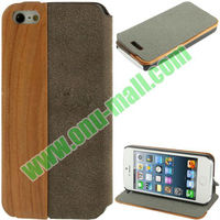 Hot Eco-friendly Leather Cases+Wooden Ronin Design with Stand for iPhone 5