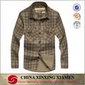 Llano teñido 100% de la largo manga plaids patrón camisa de franela