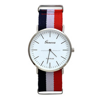 2015 Coloredl Fabric Unisex Fashion Wrist Quartz Watch