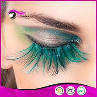 New Fashion Party Art Colored Eye Lash Real Bird Fake Lashes Feather False Eyelashes