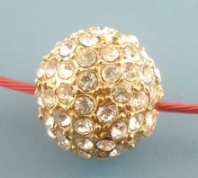 5Pcs Gold Plated Rhinestone Ball&Round Crystal Beads 12mm Dia.