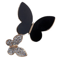 Fashion Girls&Womens Couple Black&Gold Butterflys New Design Rhinestone Pin Brooch Jewelry For Party