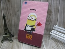 For ipad mini customized case, Lovely Minion Despicable Me Pattern Moive Case For Apple iPad 2 3 4 air