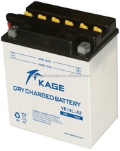 flooded YB-conventional dry charged lead acid tradional motorcycle battery YB14L-A2 12V14AH