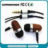 Universal 3.5mm super bass sound durable wooden earphone with mic for iphone