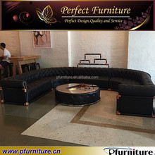 Royal button tufted leather oval sofa PFS1505
