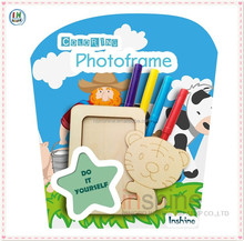 New design animal wooden coloring set , craft wood funny photo frame , arts and craft