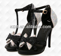 Super sexy black and white ladies dress shoes wedding shoes with crystals high heel lady crystal shoes