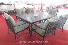 outdoor alu frame casting dining table chairs funiture rattan dining table chairs sets coffee color 2015 new design