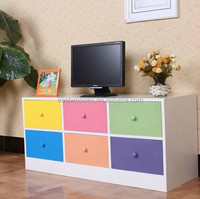 rainbow colorful wood TV stands simple cabinet with drawers mordern furniture