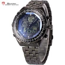 Shark Men Military Digital LCD Date Day Stainless Steel Quartz Sport Army Watch