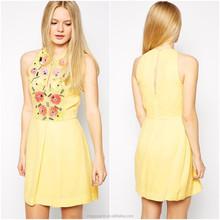100% Viscose fashion women clothing sleeveless flare sequin bead embellished zip back new model girl dress 2015