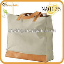 2013 new arrival canvas tote bag with outside pockets