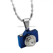 New Designs Unique Stainless Steel Blue Color Hidden Camera Pendant for Unisex Jewelry