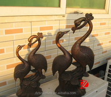 Indoor decorative bronze crane statue for sale lucky birds