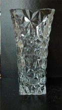 Diamond design clear machine pressed Glass vase/cube for wedding and other celebrations